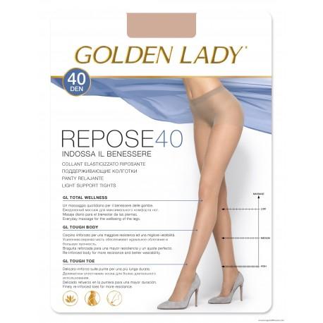Collant elasticizzato velato ad effetto riposante. 40 denari Repose 40 Golden Lady